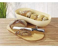 Esmeyer Lilou - Boîte à pain LILOU en métal, avec couvercle en bambou pouvant également être utilisé comme planche à pain