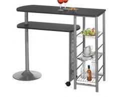 Table haute de bar mange-debout comptoir JOSUA MDF décor noir