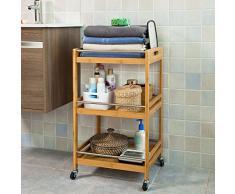 SoBuy FKW15-N Chariot de cuisine, salle de bains roulant, Desserte de cuisine de service en Bambou, Meuble de rangement à roulettes, L45cmxP38cmxH77cm