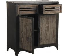 Bahut en métal et bois (2 tiroirs et 2 portes), Dim : 85 x 42,5 x 90,5 cm -PEGANE-