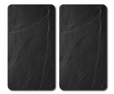 Kesper 3652313 Lot De 2 Planches À Découper En Verre Multifonction Aspect Ardoise 52 X 30 X 1.2 Cm