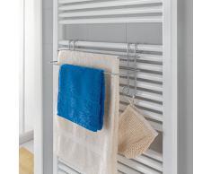 Metaltex 40380239080 RADIUS Porte serviettes double avec 2 Crochets Métal Argent 14,5 x 39 x 20 cm