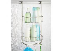 iDesign panier de rangement à suspendre, petit valet de douche en métal avec 2 paniers et 3 crochets doubles, panier de bain pour cabine de douche, argenté