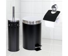 TecTake Set salle de bain brosse pour toilettes porte-papier toilette poubelle noir