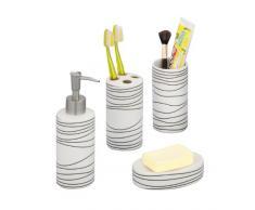 Zeller 18250 Set de 4 accessoires pour salle de bain en céramique, blanc