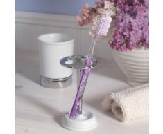 InterDesign York porte brosse a dent, bel organisateur maquillage en céramique, blanc/argenté