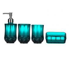 Premier Housewares 1601512 Cristallo Set de 4 Accessoires de Salle de Bain Plastique Bleu