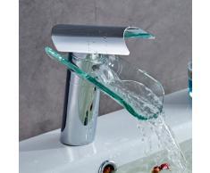 Auralum® Design nouveau Élégant robinet mitigeur cascade en chrome et verre lavabo