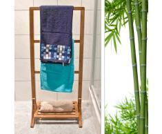 Relaxdays Porte-Serviettes sur pied avec Étagère en bois de Bambou HxlxP: 105 x 40 x 27 cm compartiment rangement support vêtement avec 3 barres valet de chambre serviteur séchoir à linge, nature