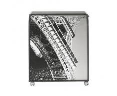 Simmob MUST095NO751 Tour Eiffel 750 751 Meuble Informatique à Roulettes avec Rideau Imprimé Bois Noir 53,2 x 79,2 x 93,8 cm