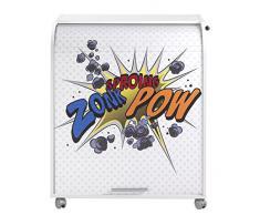 Simmob MUST095BL400 Zonk Pow 400 Meuble Informatique à Roulettes avec Rideau Imprimé Bois Blanc 53,2 x 79,2 x 93,8 cm
