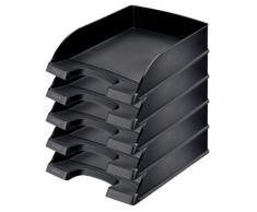 Leitz Plus - Corbeille à courrier 70mm - Noir - Lot de 5