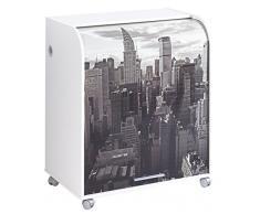 Simmob MUST095BL500 New York 500 Meuble Informatique à Roulettes avec Rideau Imprimé Bois Blanc 53,2 x 79,2 x 93,8 cm