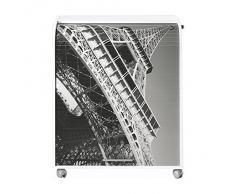 Simmob MUST095BL751 Tour Eiffel 750 751 Meuble Informatique à Roulettes avec Rideau Imprimé Bois Blanc 53,2 x 79,2 x 93,8 cm