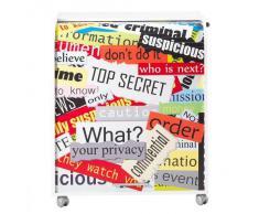 Simmob MUST095BL300 Top Secret 300 Meuble Informatique à Roulettes avec Rideau Imprimé Bois Blanc 53,2 x 79,2 x 93,8 cm