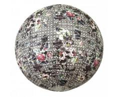 Around The Wall BJFLOLI011 Flower Light Suspension Boule Japonaise Lampion Motif Fleur Papier de Riz Noir 20 x 20 x 20 cm