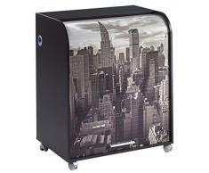 Simmob MUST095NO500 New York 500 Meuble Informatique à Roulettes avec Rideau Imprimé Bois Noir 53,2 x 79,2 x 93,8 cm