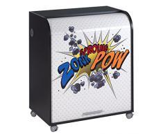 Simmob MUST095NO400 Zonk Pow 400 Meuble Informatique à Roulettes avec Rideau Imprimé Bois Noir 53,2 x 79,2 x 93,8 cm