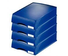 Leitz Plus - Corbeille à courrier à tiroir 70mm - Bleu foncé - Lot de 4