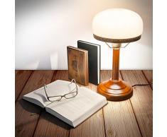 Relaxdays 10016611 Lampe de Bureau Banquier avec Abat-Jour en Verre Beige E 27