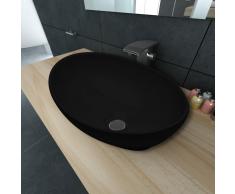 vidaXL Lavello Nero in ceramica di lusso a forma ovale 40 x 33 cm