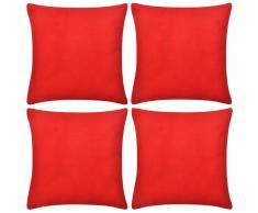 vidaXL Set 4 Federe in cotone rosso 50 x cm