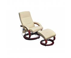 Poltrona relax massaggiante crema con poggiapiedi