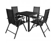 vidaXL 5 pz Set Tavolo e Sedie da Giardino in Alluminio WPC