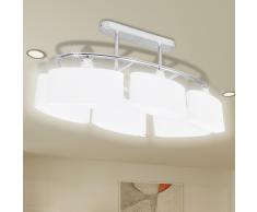 vidaXL Lampada da soffitto lampadario di vetro ellissoidale 6 lampadine E14