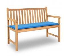vidaXL Cuscino per Panca da Giardino Blu 120x50x3 cm