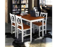vidaXL Set di mobili Tavolo in legno con 4 sedie Marrone