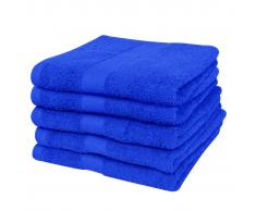 vidaXL Set 5 pz Asciugamani cotone 100% 500 gsm 100 x 150 cm blu reale