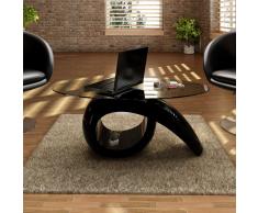 vidaXL Tavolino in nero lucido con piano di vetro temperato