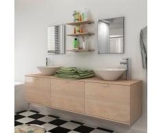 vidaXL Set 8 pz Mobili da bagno e lavandino beige