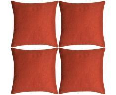 vidaXL Set 4 Federe per Cuscini in Simil-Lino Terracotta 50x50 cm