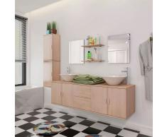 vidaXL Set 9 pz Mobili da bagno e lavandino beige