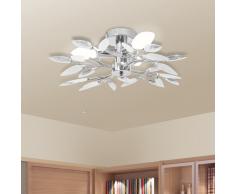 vidaXL Lampada da soffitto foglie bianche e cristallo acrilico trasparente
