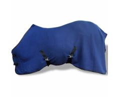 Coperta in pile con sovraccinghie 145 cm blu per cavalli