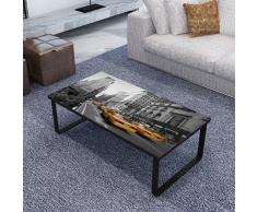 Tavolino retangolare con vetro stampato