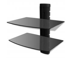 Supporto con 2 mensole di vetro montaggio a muro per DVD nero