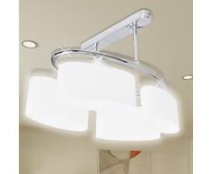 vidaXL Lampada da soffitto lampadario di vetro ellissoidale 4 lampadine E14