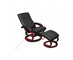 Poltrona relax massaggiante nera con poggiapiedi