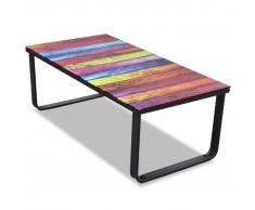 Tavolino per Caffè Vetro con Stampa Arcobaleno
