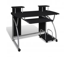vidaXL Tavolo scrivania per computer mobile cassetto estraibile finitura nera