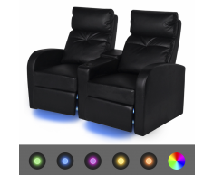 vidaXL Poltrona da Cinema Reclinabile a 2 posti con LED Pelle Artificiale Nera
