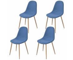 vidaXL 4 Pz Sedie per Sala da Pranzo in Stoffa Blu