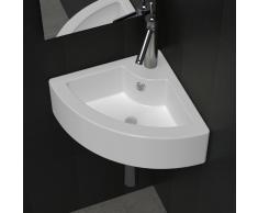 vidaXL Lavello in ceramica con foro per rubinetto e sfioro angolo bianco