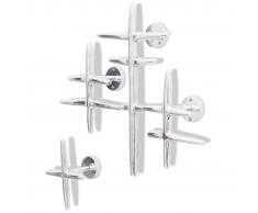 Set 2 Attaccapanni Appendiabiti in alluminio colore argento