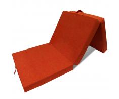 vidaXL Materasso di Schiuma Pieghevole 190 x 70 9 cm Arancione