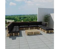 vidaXL Set 21 pz seduta da giardino con pallet in legno 13 cuscini grigio